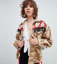 Reclaimed Vintage   Куртка в стиле милитари с бахромой Reclaimed Vintage revived - Мульти   Clouty