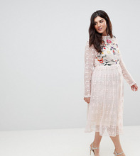 Frock And Frill | Приталенное платье из кружева с вышивкой Frock And Frill Plus Premium - Розовый | Clouty