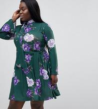 Club L | Платье с высоким воротником и принтом Club L Plus - Зеленый | Clouty