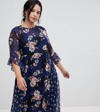 Little Mistress | Приталенное чайное платье миди с принтом Little Mistress Plus - Мульти | Clouty