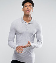 ASOS   Серая меланжевая обтягивающая футболка-поло с длинными рукавами ASOS T   Clouty