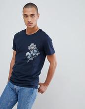Selected Homme   Футболка с принтом на кармане Selected Homme - Темно-синий   Clouty
