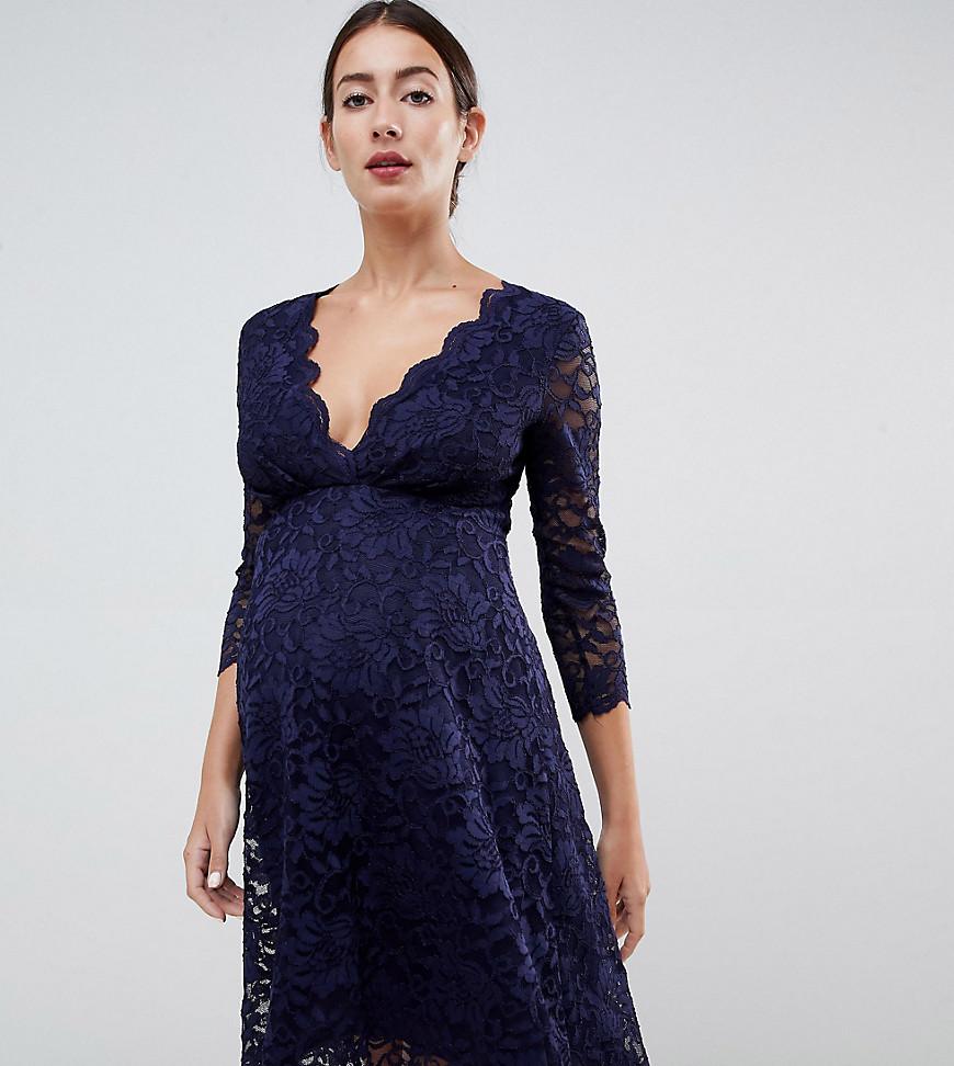 2541bba864c7 Flounce London   Темно-синий Кружевное темно-синее платье для выпускного с  рукавами 3 ...
