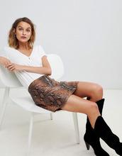 AllSaints | Кожаная юбка со змеиным принтом AllSaints lena oba - Мульти | Clouty
