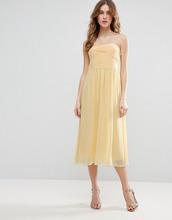Vila | Платье миди с присборенным лифом бандо Vila - Желтый | Clouty