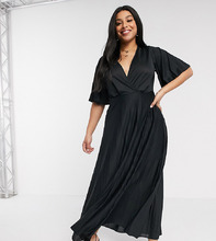 ASOS | Платье-кимоно макси с плиссировкой ASOS DESIGN Curve - Черный | Clouty