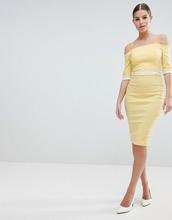 Vesper | Платье-футляр со спущенными плечами и контрастной вставкой на талии Ve | Clouty