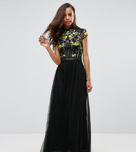 Frock And Frill | Платье макси с отделкой на лифе и воротником в восточном стиле Frock A | Clouty