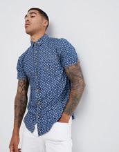 Soul Star | Рубашка с короткими рукавами и цветочным принтом Soul Star - Синий | Clouty