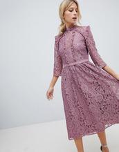 Little Mistress | Кружевное платье миди для выпускного Little Mistress - Розовый | Clouty