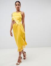 ASOS   Платье миди с вырезом и бахромой ASOS DESIGN - Золотой   Clouty