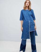 Wåven | Джинсовое платье с открытой спиной и асимметричным краем Waven Dita - Синий | Clouty