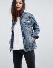 Blank NYC   Джинсовая oversize-куртка с вышивкой Blank NYC - Синий   Clouty