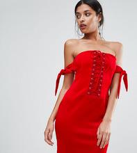 Club L | Платье-бандо со шнуровкой Club L - Красный | Clouty