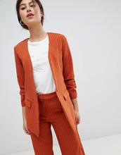 Vila | Строгий пиджак в тонкую полоску с присборенными рукавами Vila - Оранжевый | Clouty