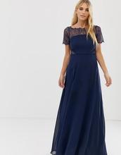 ASOS   Платье макси с кружевными вставками ASOS - Темно-синий   Clouty