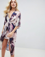 ASOS   Платье-кимоно миди с узелком и абстрактным принтом ASOS DESIGN   Clouty