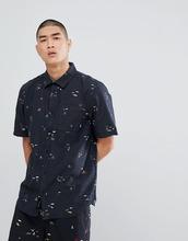 VANS | Черная рубашка с короткими рукавами Vans Tres Palmas VA3711PFP - Черный | Clouty