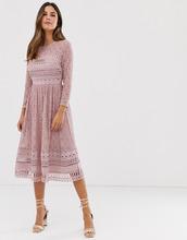 ASOS | Кружевное приталенное платье миди ASOS DESIGN - Розовый | Clouty