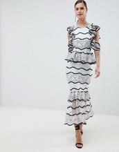 ASOS | Кружевное платье миди с оборкой на подоле ASOS DESIGN - Синий | Clouty