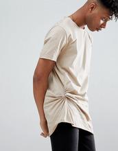 ASOS | Свободная длинная футболка со сборками сбоку ASOS DESIGN - Бежевый | Clouty
