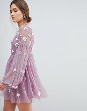 ASOS | Платье мини с цветами и объемными рукавами ASOS - Фиолетовый | Clouty