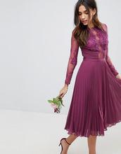 ASOS | Платье миди с кружевом ASOS DESIGN - Фиолетовый | Clouty