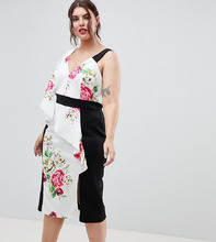 ASOS   Облегающее платье с цветочным принтом ASOS DESIGN Curve - Мульти   Clouty