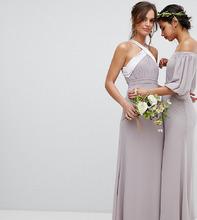 TFNC London | Плиссированное платье макси с бантом на спине TFNC - Серый | Clouty