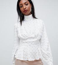 Fashion Union | Атласная блузка с высоким воротом Fashion Union Tall - Кремовый | Clouty