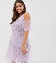 Frock And Frill | Короткое приталенное платье с отделкой и открытыми плечами Frock And Frill Plus - Фиолетовый | Clouty