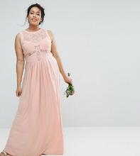 ASOS | Плиссированное платье макси с кружевным лифом ASOS CURVE WEDDING - Розовый | Clouty