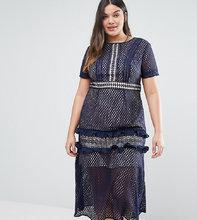 truly you | Кружевное платье миди Truly You - Темно-синий | Clouty