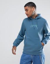 Stussy | Синий худи с вышитым логотипом Stussy - Синий | Clouty