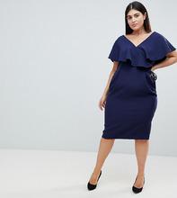 ASOS   Платье миди с запахом и оборками ASOS DESIGN Curve - Темно-синий   Clouty