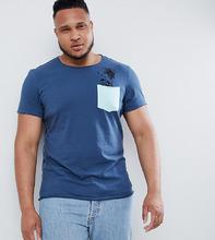Blend   Футболка с пальмовым принтом и карманом Blend Plus - Синий   Clouty