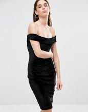 Club L | Бархатное платье миди с вырезом лодочкой Club L - Черный | Clouty