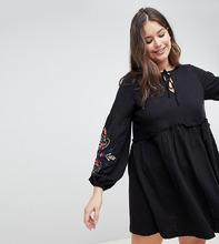 ASOS | Свободное платье с вышивкой ASOS DESIGN Curve - Черный | Clouty