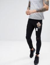 Religion | Черные байкерские джинсы скинни с нашивками Religion - Черный | Clouty