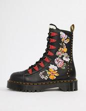 Dr. Martens | Черные кожаные ботинки на платформе с вышивкой Dr Martens Nyberg - Черный | Clouty