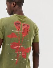 ASOS | Длинная выбеленная футболка с принтом на спине ASOS DESIGN - Зеленый | Clouty