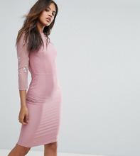 Little Mistress   Платье-футляр с сетчатыми вставками Little Mistress Tall - Розовый   Clouty