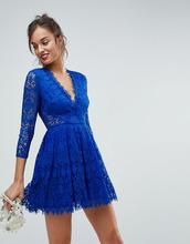 ASOS | Кружевное платье мини для выпускного с длинными рукавами ASOS - Синий | Clouty