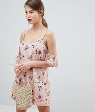 Vila | Платье с открытыми плечами и цветочным принтом Vila - Мульти | Clouty