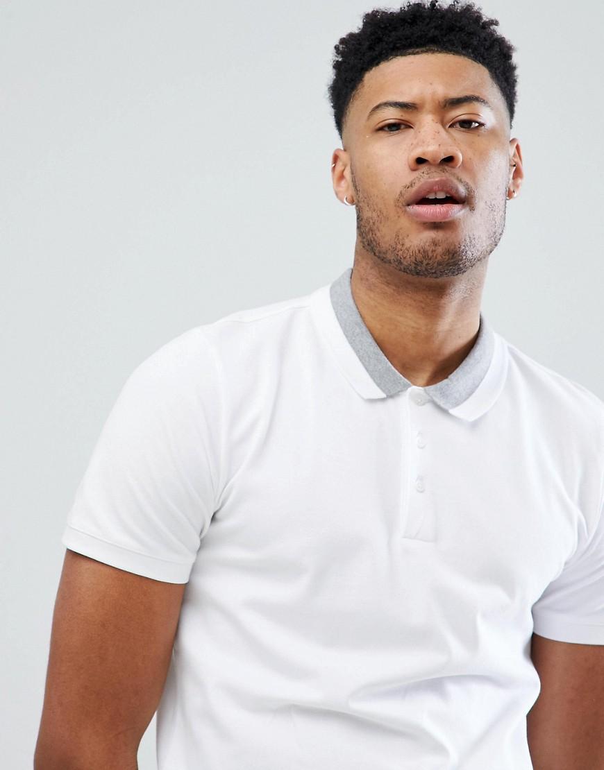 Selected Homme | Футболка-поло с контрастной отделкой Selected Homme - Белый | Clouty