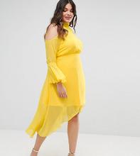 truly you | Платье миди с расклешенными рукавами Truly You - Желтый | Clouty