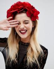 ASOS | Красная повязка на голову с цветочным принтом ASOS DESIGN HALLOWEEN - Красный | Clouty