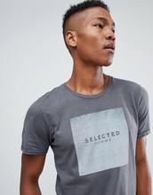 Selected Homme   Футболка с графическим принтом Selected Homme - Серый   Clouty
