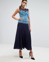 Three Floor | Плиссированное платье миди с кружевной вставкой контрастного цвета Three Floor - Синий | Clouty