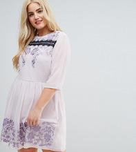 ASOS | Платье мини с кружевом и вышивкой ASOS CURVE PREMIUM - Фиолетовый | Clouty